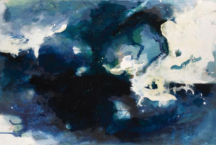 abstraktes Bild · Blau · Ultramarin · Weiss · Leinwand · Patrick Öxler · Wiede Fabrik · Atelier