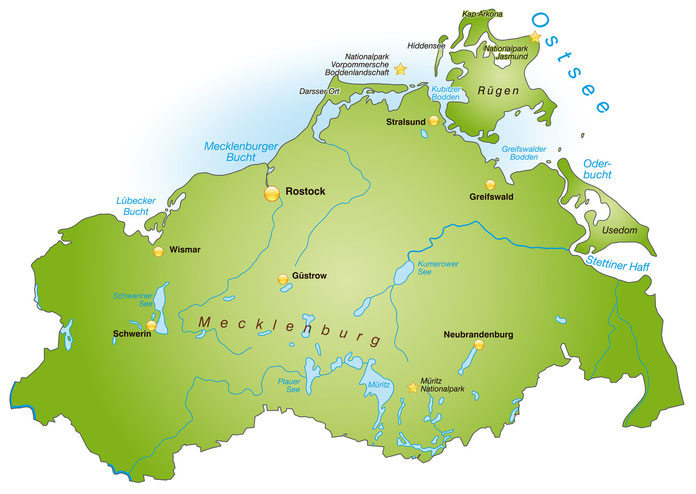 Karte Mecklenburg-Vorpommern; Detektiv, Detektei Mecklenburg-Vorpommern