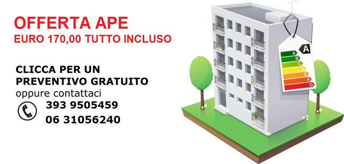 Offerta per Attestato di prestazione energetica degli edifici APE. Certificato energetico APE Roma