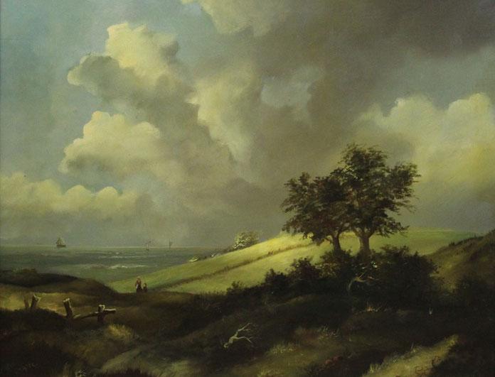 te_koop_aangeboden_een_landschaps_schilderij_met_zicht_op_zee_hollandse_school_20e_eeuw