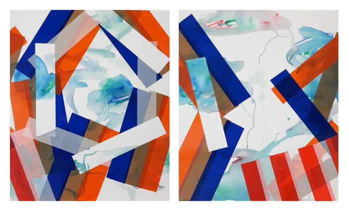 Rythme n°79, diptyque, dim. 48 cm x 80 cm, 2020