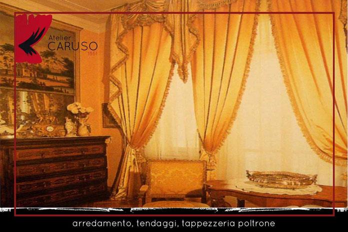 Tendaggi classici con mantovana atelier tessuti for Tende classiche con mantovana