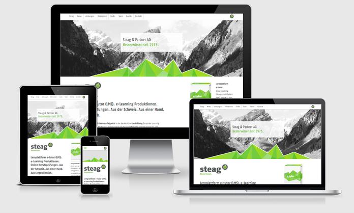 Website des Kunden Steag auf verschiedenen mobilen Endgeräten.