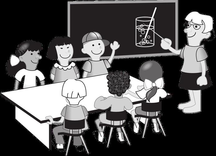 Zeichnung einer Schulklasse