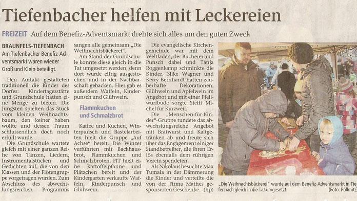 16.12.2015 Tiefenbacher helfen mit Leckereien (WNZ)