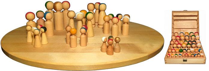 Familienbrett Aufstellung Figuren Brett Holz Kiste