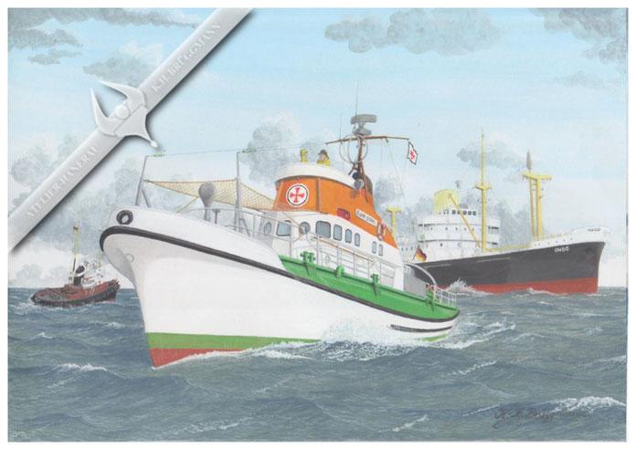 """DGzRS """"Ruhr-Stahl"""" erbringt Höchstleistung bei der Bergung der Besatzung von der """"Ondo"""" auf dem Großen Vogelsand in der Elbemündung, Dezember 1961"""