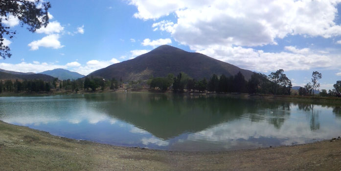 Beautiful panorama at the lake close to Oaxaca City