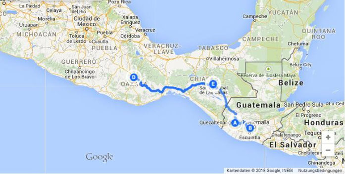 From Guatemala to San Cristobal de las Casas (E) to Oaxaca (D).