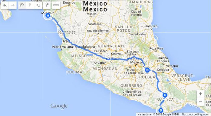 My tour down from (A) Mazatlan, (B) Puebla, (C) Oaxaca, (D) Porto Escondido (about 1.736 km).