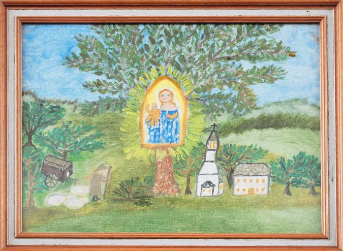 Kinderbild  mit Maria im Nussbaum. Im Eingangsbereich.