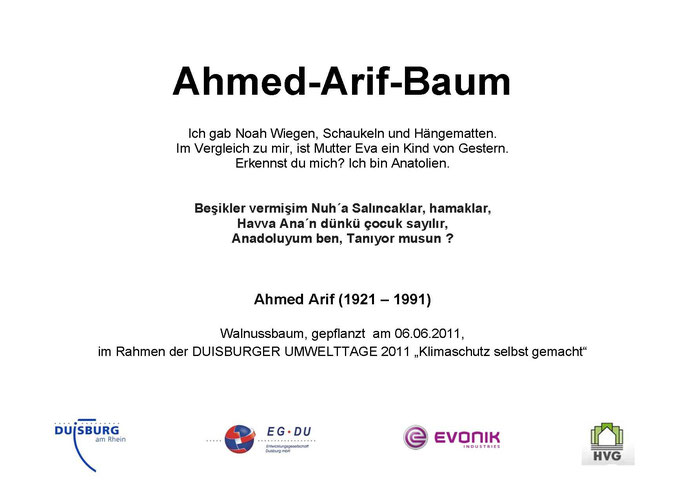 Gedenktafel Ahmed-Arif-Baum