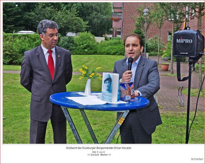 Grußworte von Herr Erkan Kocalar (Duisburger Bürgermeister), links Herr Dr. Ribhi Yousef (Amt für Umwelt und Grün der Stadt Duisburg)