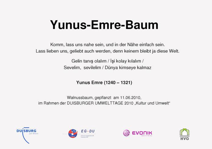Gedenktafel Yunus-Emre-Baum