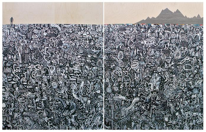 Alone.Seul, acrylique sur bois, 2016, 2 panneaux 4x5 pieds