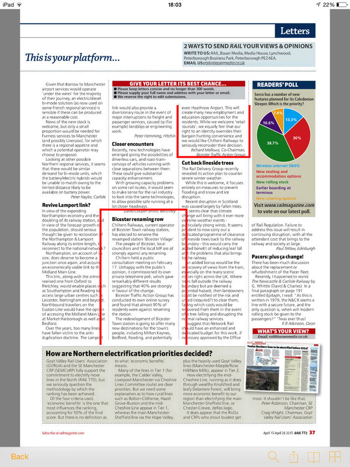 Bicester Traffic Action Group's letter is published by Rail Magazine