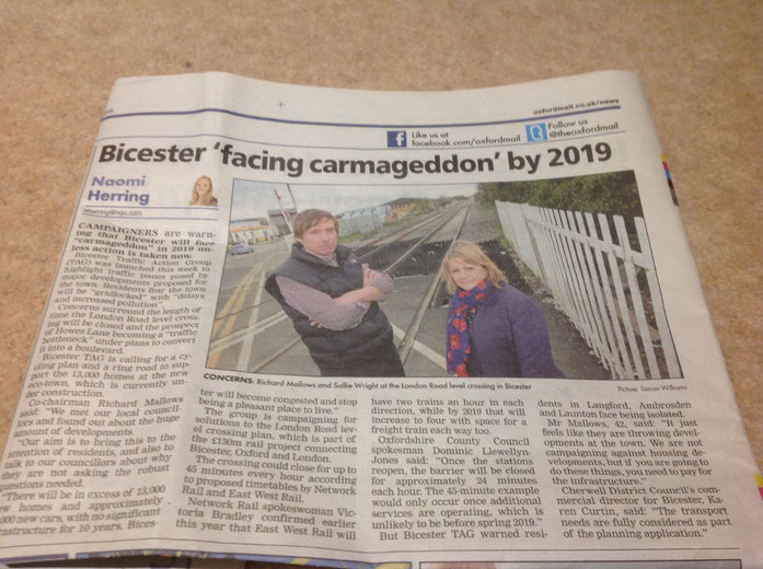 Oxford Mail's coverage of Bicester Traffic Action Groups launch.  Co-chairs Richard and Sallie are pictured at London Road level crossing.