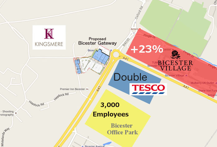 Showing the approximate sites of the Bicester Office Park, new Tescos and enlarged Bicester Village