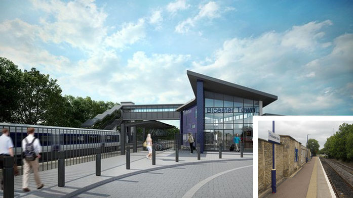 Contrasting the old and new Bicester Town Station. 8 trains per hour compared with less than 8 per day!