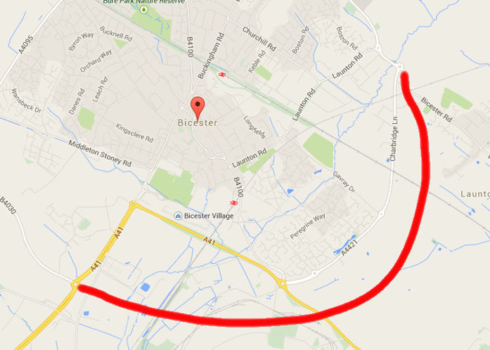 Approximate routing of new Bicester perimeter road that may be built sometime between 2020 and 2025.