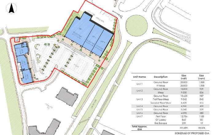 Approximate floorplans of the 7 retail units at Bicester Gateway close to Bicester Village, the Designer Outlet.