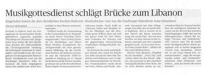 aus der Rheinischen Post vom 9.2.2015