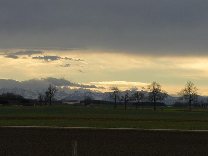Fön Wirkung, die Alpen gesehen aus LL-Ost - 2