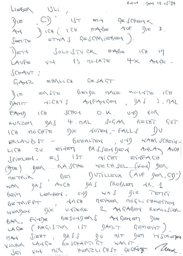 Photo: Uli SCHAUERTE Brief (1997) des Cellisten Imre Kálmán wg. meiner Stücke für Cello solo