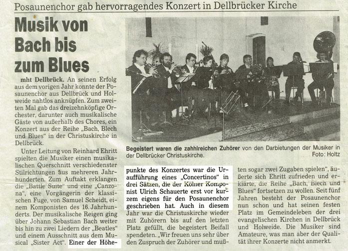 Uli SCHAUERTE Concertino Kölnische Rundschau 21.März 1996