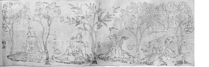 """Seven Sages in Bamboo Glove 1"" by 不明(匿名) - Seven Sages of the Bamboo Grove and Rong Qiqi, handscroll of reduced replicas of Rubbings, Ren Ming Art Publishing, 1984, Beijing. Licensed under パブリック・ドメイン via ウィキメディア・コモンズ - https://commons.wikimedia.org/wiki/"