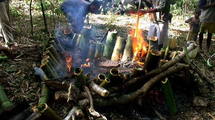 """Tukir (a way of cooking using bamboo as recipient to cook in the fire)"" by Tatoli Ba Kultura - Tatoli Ba Kultura. Licensed under CC BY-SA 3.0 via Commons - https://commons.wikimedia.org/wiki/File:Tukir_(a_way_of_cooking_using_bamboo_as_recipient_to_cook_"