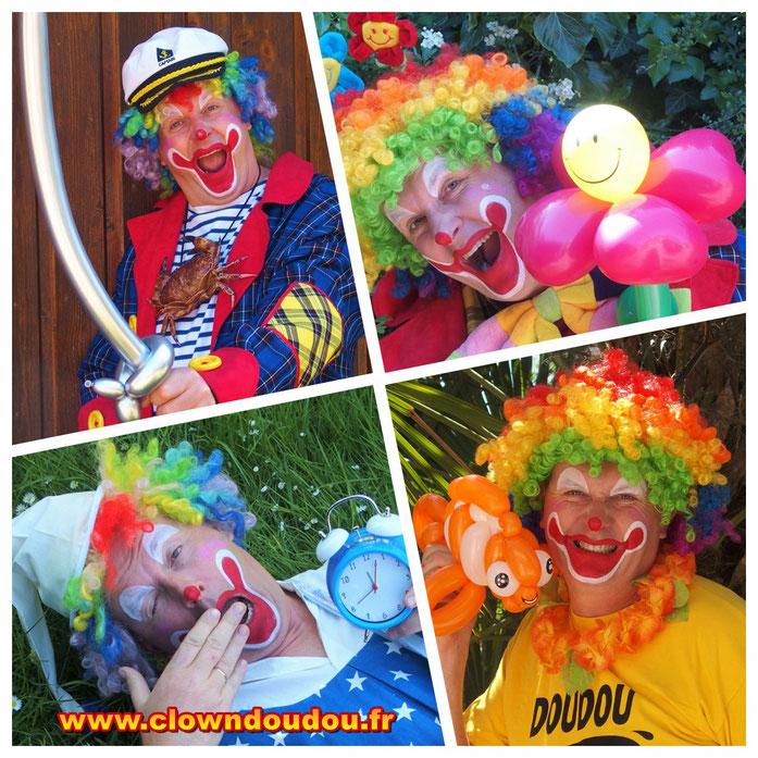 Clown doudou, clown de rue, spectacle solo et duo