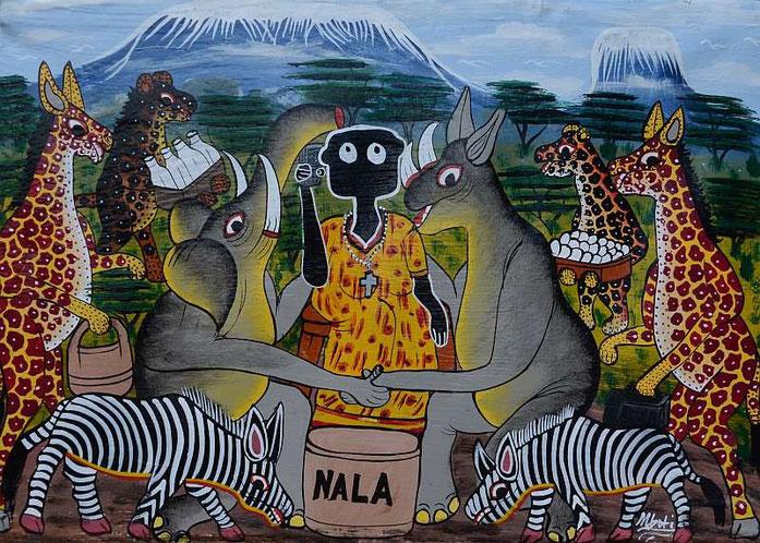 Gemalt von Hassani Mboti aus dar es Salaam, Tanzania ( Ölfarbe auf Leinwand)
