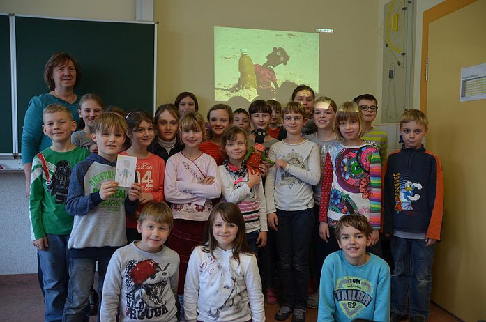 "Those ""school materials"" was donated by the 3rd class students (3a) of the Jury-Gagarin Primary school in Königsbrück / Germany"