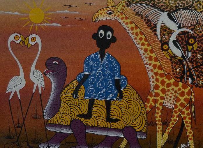 Gemalt von Paulo Saidi, aus Dar es Salaam, Tanzania (Ölfarbe auf Leinwand)