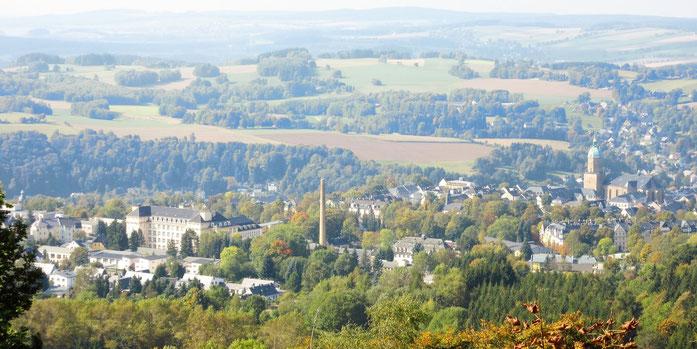 Blick vom Gipfel über Annaberg-Buchholz