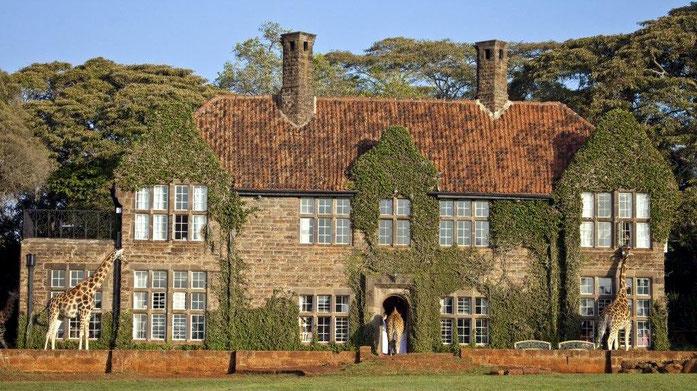 Giraffe Manor, situato tra Nairobi e la Riserva Naturale Ngong Hills.