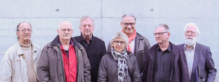 Der Vorstand der Visarte Solothurn bis zur GV 2018, von links nach rechts: Bürkli Heini; Meier Pedro; Barbey Claude, Präsident; Pfister Ursula; Eggenschwiler Norbert; Müller Beat Julius; Breiter Fritz.
