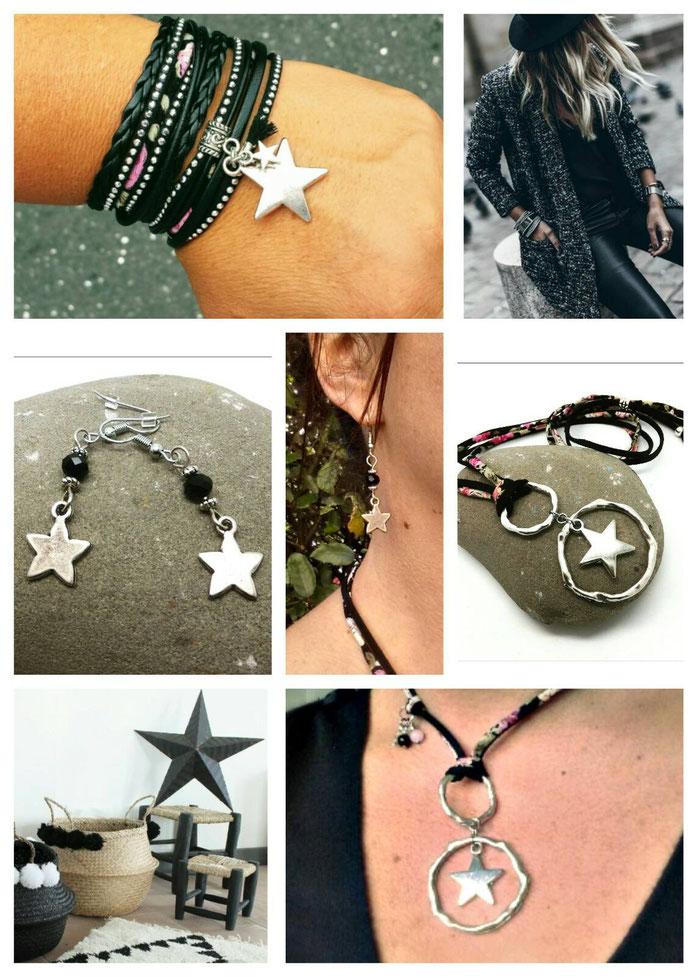 La collection ORION noire: bracelet sautoir boucles d'oreilles étoiles fait main