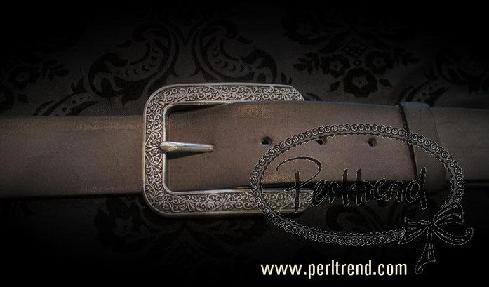 www.perltrend.com Accessoires Gürtel echt Leder grün Schnalle wechselbar