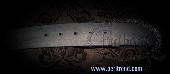 www.perltrend.com Accessoires Gürtel echt Leder blau Schnalle wechselbar