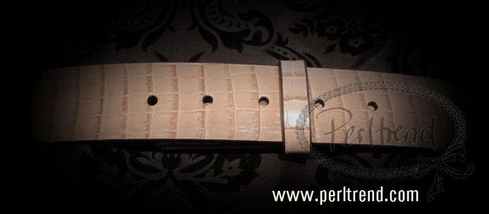 www.perltrend.com Accessoires Gürtel echt Leder beige Schnalle wechselbar