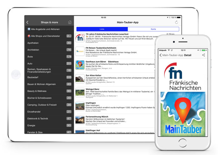 Main Tauber App für iPad, iPhone und Android
