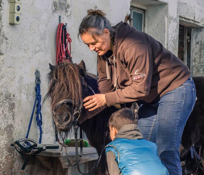 Wir bereiten die Ponys mit den Kindern für das Reiten vor. Wir putzen und streicheln die Ponys vor dem Reiten und legen ihnen den Sattel auf bevor wir losreiten. Die Ponys und Pferde sind brav und gehen Ponyreiten, Reitunterricht und Reittherapie