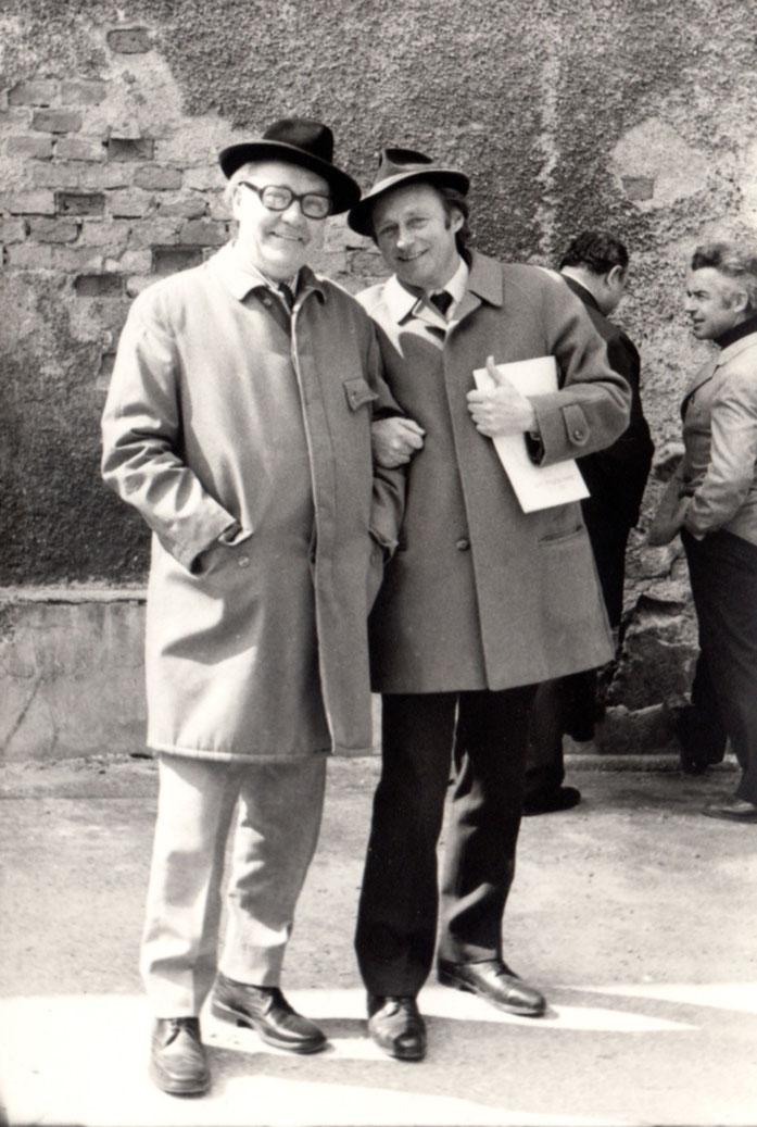 Bauherr Josef Heindl mit seinem Architekten Gustav Aduatz
