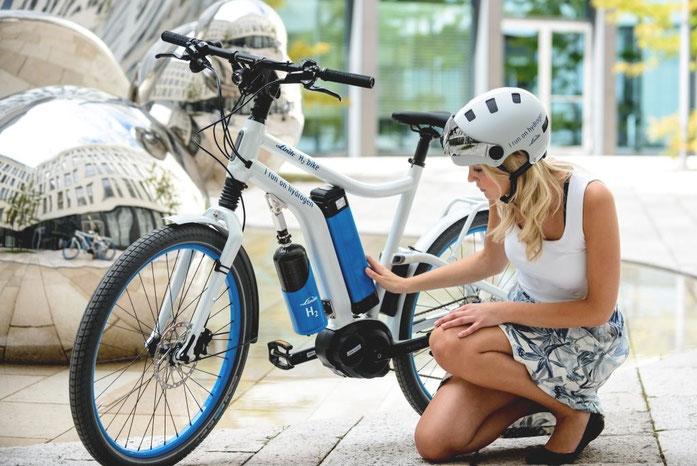 The Linde Group: Bisher noch Prototyp eines mit Wasserstoff und Brennstoffzellen angetriebenen E-Bikes des Technikunternehmens