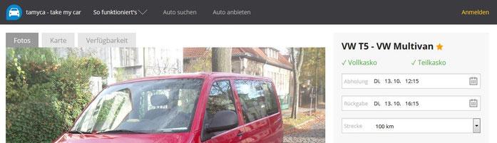Sreenshot von der Buchungswebseite take my car
