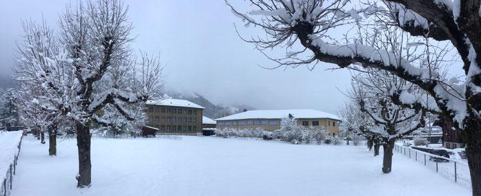 Die Schulanlage Widi im Winterschlaf...