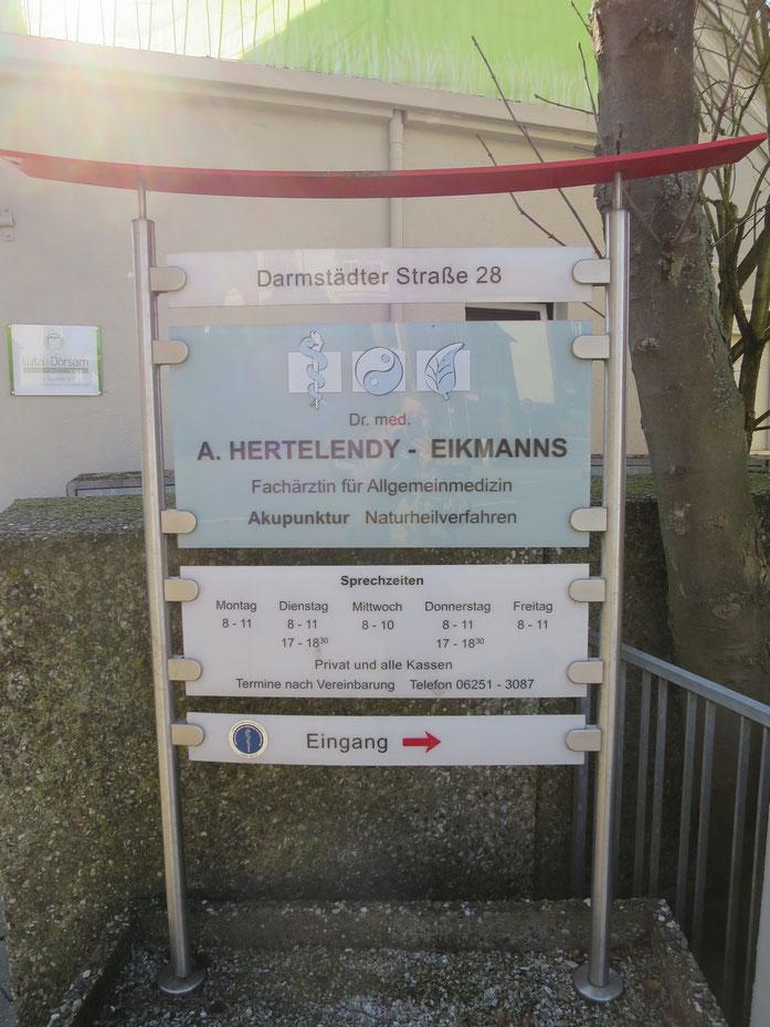 Bild: Praxisschild der Praxis Hertelendy-Eikmanns