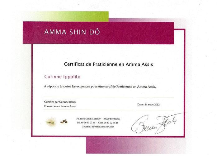Certificat de Amma Assis décerné à Corinne Ippolito